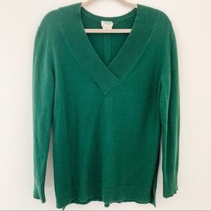 Anthropologie Green V Neck Pullover Sweater Sz XS